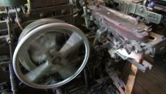 Details of old silk machine Stock Footage