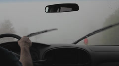 Driving on mountain road in the fog Stock Footage