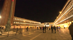 Venice at night St Marks square very wide shot, handheld Stock Footage