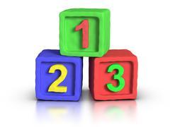 play blocks - numbers - stock illustration