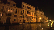 Stock Video Footage of Venice at night on canal POV from water taxi, #2