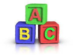 play blocks - abc - stock illustration