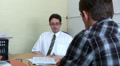 Office worker talking to client Footage
