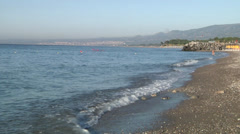 Wiew of Naxos Beach, waves, Jonic sea. Stock Footage