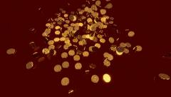 Cascade of gold coins. Stock Footage