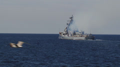 Warship in the war patrol Stock Footage