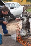 Transmission repair car Stock Photos