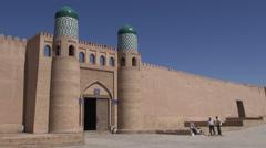 Ancient city walls in former Silk Road city in Uzbekistan Stock Footage