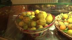 Fresh fruits on bar window Stock Footage