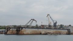 Dock port work Stock Footage