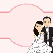 bride and groom holding hands/ groom and bride - stock illustration
