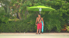 Water Park Lifeguard, Zooming-out to Wave Pool Stock Footage