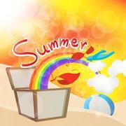 beautiful colorful summers vector illustration - stock illustration