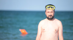 Adult man wearing scuba diver mask Stock Footage