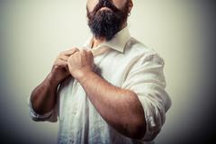 long beard and mustache man with white shirt - stock photo