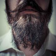 close up of long beard and mustache - stock photo