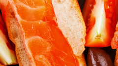 Pink salmon on baguette Stock Footage