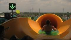 At Beginning of Water Tube Slide with Indicating Light Stock Footage