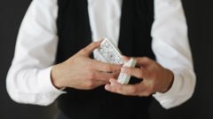 Man showing trick with playing cards Stock Footage