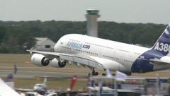 Airbus A380 Landing at Farnborough Air Show Stock Footage