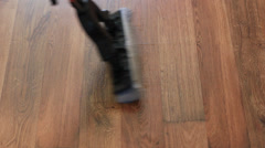 Cleaning the floor with mop Stock Footage
