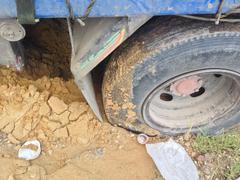 Wheels mired.car failed in a countryside Stock Photos
