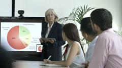 Senior business person esitys kokoustiloissa Arkistovideo
