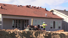 New Home Building boom ,workers Stock Footage