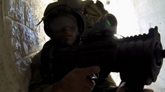 Army Special Forces action tank attack battle building combat Stock Footage