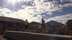 New Home Building boom, sun rays Stock Footage