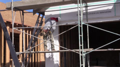 New Home Building boom, stucco preperation Stock Footage