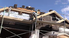 New Home Building boom, scaffolds Stock Footage