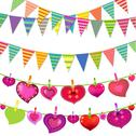 Stock Illustration of garlands with bunting flags and hearts