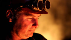 Worker with safety goggles in a foundry Stock Footage