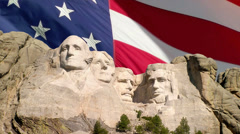 Mount Rushmore and American Flag Stock Footage