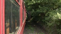 Vintage Tteam Train, side POV, Entering Station Stock Footage