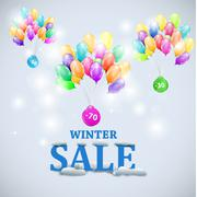 Winter sale with colorful ballons vector illustration Stock Illustration