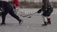 Stock Video Footage of sports, ice hockey on frozen lake, true 240fps slow motion save wide handheld