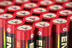Macro view of AA batteries Stock Illustration