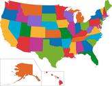 Colorful usa map Stock Illustration