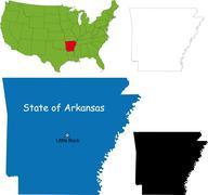 arkansas map - stock illustration
