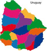 Stock Illustration of colorful uruguay map
