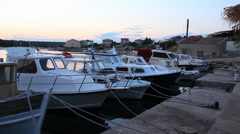 Boats in Adriatic Harbor, Pan Stock Footage