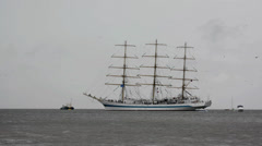 STS Mir leaving the harbour Stock Footage