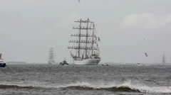 Mexican sail training ship is sailing away Stock Footage