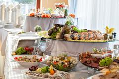 Snacks on banquet table Stock Photos