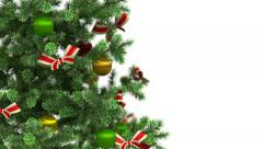 Beautiful Christmas tree close-up on white background. HD 1080. Stock Footage