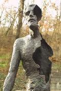 Victims of communism memorial monument in Prague - stock photo