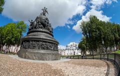 Novgorod - august 10: monument to the 1000th anniversary of russia on august  Stock Photos