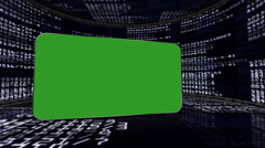 Numbers Room with Green Screen Monitor and Alpha Channel Stock Footage